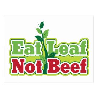 Eat Leaf Not Beef Postcard