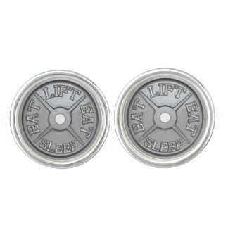 Eat, Lift, Sleep - Barbell Plate Cufflink Cufflinks