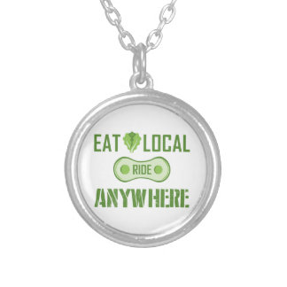 Eat Local, Ride Anywhere Silver Plated Necklace
