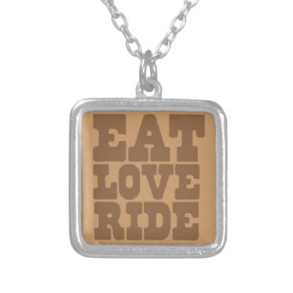 EAT LOVE RIDE Horse riding funny Silver Plated Necklace
