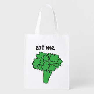 eat me. (broccoli) reusable grocery bag