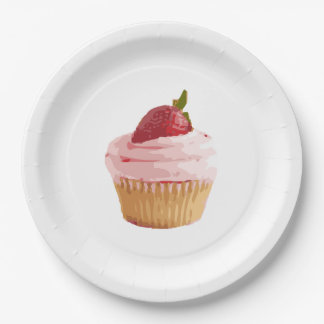Eat me, Drink Me cupcake in pink Paper Plate