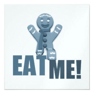 EAT ME! Gingerbread Man - Blue 13 Cm X 13 Cm Square Invitation Card