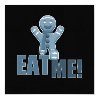 EAT ME! Gingerbread Man - Blue 13 Cm X 13 Cm Square Invitation Card