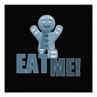 EAT ME Gingerbread Man - Blue Personalized Announcements