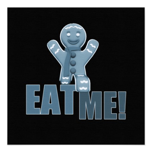 EAT ME! Gingerbread Man - Blue Personalized Announcements