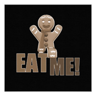 EAT ME Gingerbread Man - Brown Sepia Personalized Announcement