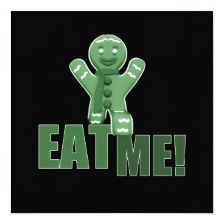 EAT ME! Gingerbread Man - Green 13 Cm X 13 Cm Square Invitation Card