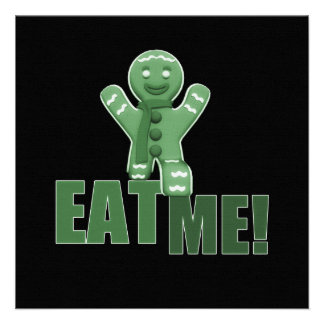 EAT ME Gingerbread Man - Green Personalized Announcements
