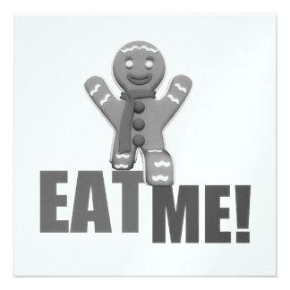 EAT ME Gingerbread Man - Grey B W Announcement