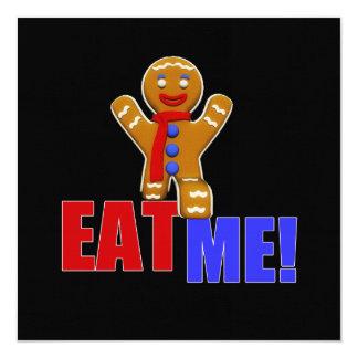 EAT ME! Gingerbread Man - Original Colors 13 Cm X 13 Cm Square Invitation Card