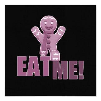 EAT ME! Gingerbread Man - Pink 13 Cm X 13 Cm Square Invitation Card