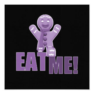 EAT ME! Gingerbread Man - Purple 13 Cm X 13 Cm Square Invitation Card