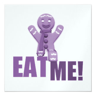 EAT ME! Gingerbread Man - Purple 13 Cm X 13 Cm Square Invitation Card