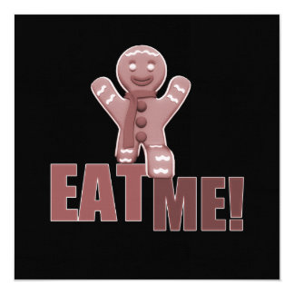 EAT ME! Gingerbread Man - Red 13 Cm X 13 Cm Square Invitation Card