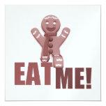 EAT ME! Gingerbread Man - Red 13 Cm X 13 Cm Square Invitation Card