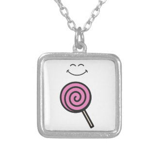 Eat me Lolipop Silver Plated Necklace