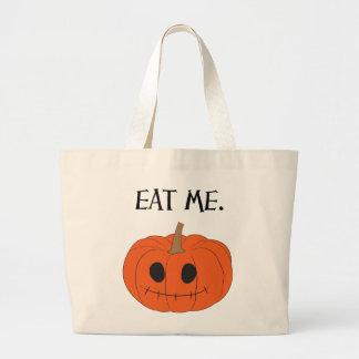 eat me. v.1 (pumpkin/jack-o'-lantern) jumbo tote bag