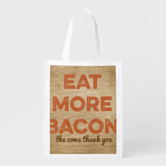 Eat More Bacon Burlap Background