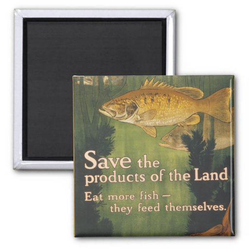 Eat More Fish - Vintage WW1 Poster Square Magnet
