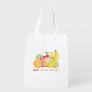 Eat More Fruit Watercolor Reusable Grocery Bag