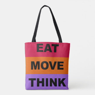 Eat Move Think Colourful Tote Bag