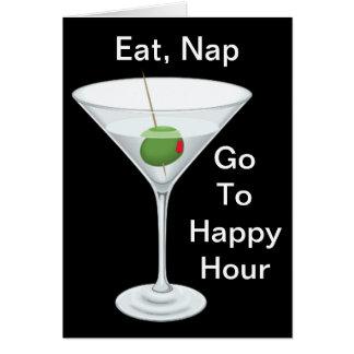 Eat Nap Go To Happy Hour Martini Happy Birthday Card