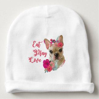 Eat Play Love cute french bulldog baby beanie