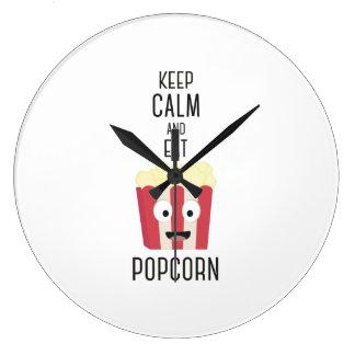 Eat Popcorn Z6pky Large Clock