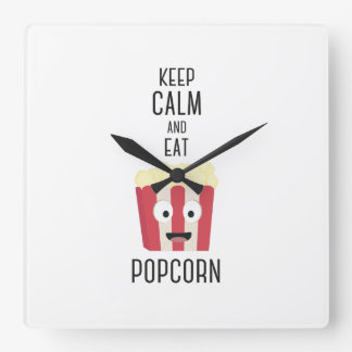 Eat Popcorn Z6pky Square Wall Clock