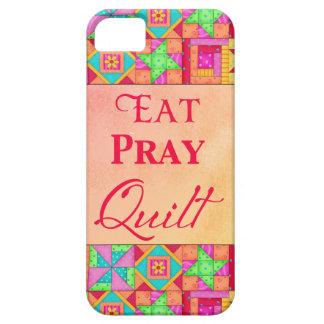 Eat Pray Quilt Colorful Patchwork Block Art iPhone 5 Case