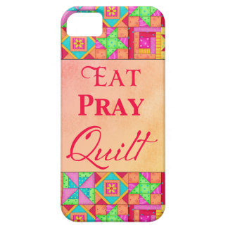 Eat Pray Quilt Colourful Patchwork Block Art iPhone 5 Cover