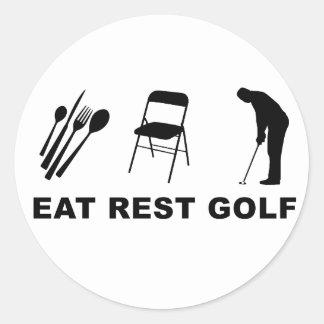 Eat Rest Golf Round Stickers