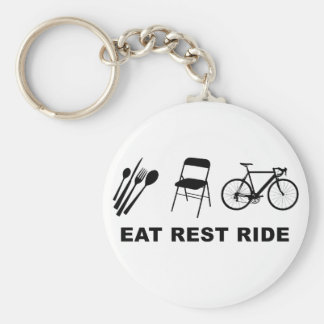 Eat Rest Ride Basic Round Button Key Ring
