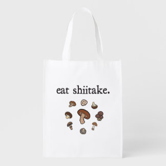 eat shiitake. (mushrooms) reusable grocery bag