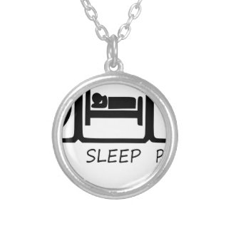 EAT SLEEP37 SILVER PLATED NECKLACE