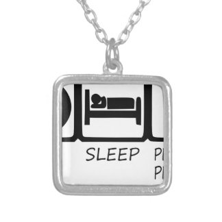 EAT SLEEP39 SILVER PLATED NECKLACE