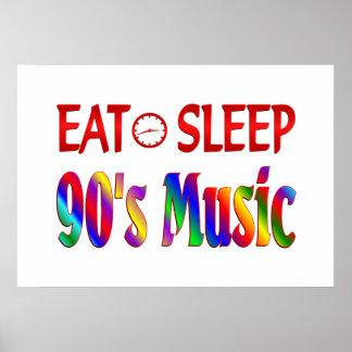 Eat Sleep 90 s Music Poster
