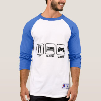 Eat,Sleep and Game funny 3/4 Sleeve Raglan T-Shirt