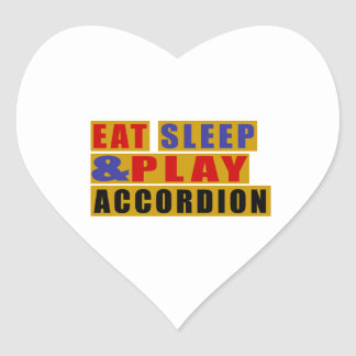 Eat Sleep And Play ACCORDION Heart Sticker