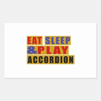 Eat Sleep And Play ACCORDION Rectangular Sticker