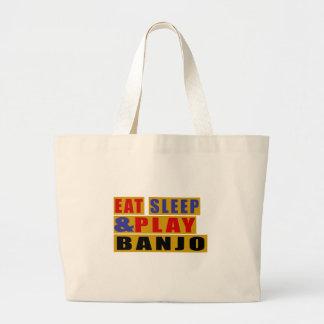 Eat Sleep And Play BANJO Large Tote Bag