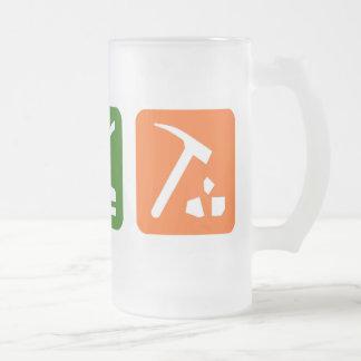 Eat Sleep Archaeology Frosted Glass Beer Mug