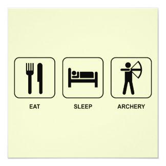 Eat Sleep Archery 13 Cm X 13 Cm Square Invitation Card