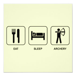 Eat Sleep Archery 5.25x5.25 Square Paper Invitation Card
