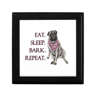Eat, sleep, bark, repeat pug gift box
