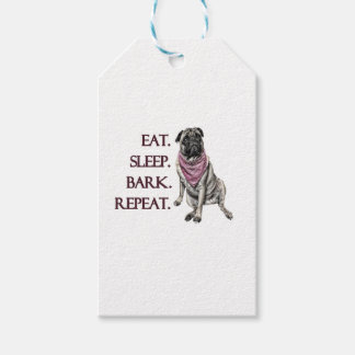 Eat, sleep, bark, repeat pug gift tags