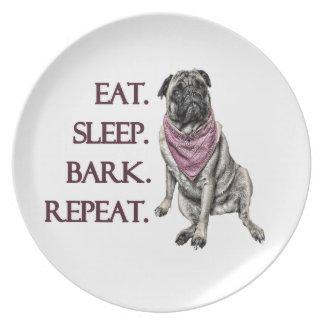 Eat, sleep, bark, repeat pug plate