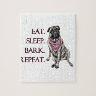 Eat, sleep, bark, repeat pug puzzle