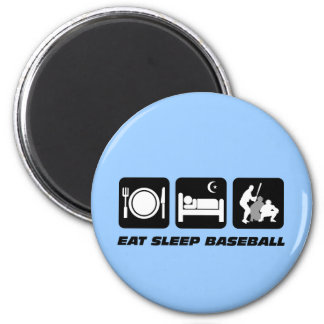 Eat sleep baseball 6 cm round magnet